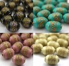 20 X Gold Metal Enlaced Barrel Jewellery Making Beads 9 X 13mm