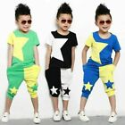 2pcs Kids Boys Summer Suit Short Sleeve Tops+Shorts Cotton sportive Clothes Sets
