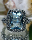 Aquamarine Art Deco Sterling Silver Floral Filigree Ring Size Made To Order