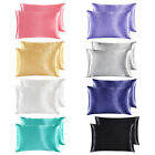 2Pc Solid Satin Silk Fabric Pillowcase Cushion Cover Bedding Standard Queen King image