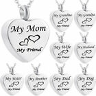 Cremation Jewellery for Ashes Funeral  Pendant Silver Heart Urn Necklace HOT