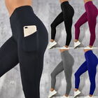 Women Slim Yoga Pants Casual High Waist Pocket TUMMY Stretch Leggings GI