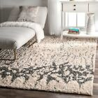 nuLOOM Ivory Contemporary Abstract Cotton Shag Rug