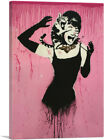 ARTCANVAS Audrey Hepburn Attacked By Cat Canvas Art Print by Banksy
