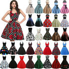 Womens 50s Vintage Style Pinup Swing Evening Party Rockabilly Casual Retro Dress