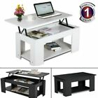 Modern Wooden Lift Up Top Coffee Table Tea With Storage Shelf Living Room White