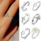 Silver Ocean Wave Flower Heart Hollow Fashion Ring Size 7 Women Jewelry Gift