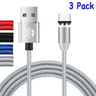 3 Pack Magnetic Lightning Micro USB Type-C Fast Charger Cable For iPhone Samsung