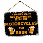 Motorcycle And Beer Metal Tin Sign Plaque Art
