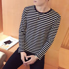 Hoiliday Tops T-Shirt Home New Male Neck Long Sleeve Stripe Casual Polyester