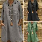 ZANZEA Women's Buttons V Neck Casual Long Shirt Dress Cotton Ethnic Mini Dress