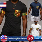 Men's Short Sleeve African Printed T shirt Casual Dashiki Cotton Tops Plus Size image
