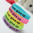 Silicone Luminous Rubber Bracelet Never Give Up Glow in the Dark Sport Wristband image