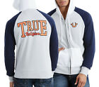 True Religion Men's Gray/Navy/White Logo Raglan Terry Full Zip Hoodie
