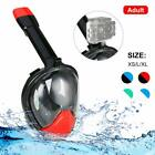 Full Face Snorkel Mask Diving Swimming Easy Breath Anti Fog Curved Kids Adults