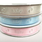 Satin baby & footprint ribbon 12mm wide sold per 2 metres pink, blue or coffee