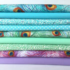 Peacock feather 9 piece 100% cotton fabric bundles FREEPOST