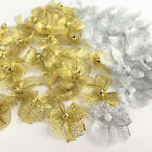 Gold or Silver lurex pearl ribbon bows sold per 10 bows 26mm x 26mm