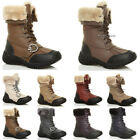 GIRLS CHILDRENS KIDS LACE UP FUR LINED FLAT CALF WINTER SNOW BOOTS SIZE