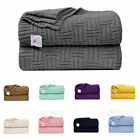 Lightweight Warm Soft 100% Cotton Cable Knit Throw Blanket Sofa Bed Travel Throw image
