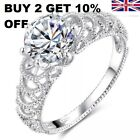 Ladies 925 Sterling Silver Sparkling Crystal Rings Wedding Engagement Rings