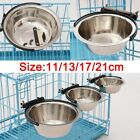Puppy Pet Dog Stainless Steel Hanging Food Water Bowl Feeder For Crate Cage Coop