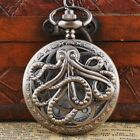 Octopus Retro Steampunk Quartz Vintage Pocket Watch with Chain Pendant Necklace image