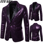 Mens Gorgeous Sequins Wedding Party Tuxedo Dinner Formal Suit Blazer Jacket Coat