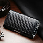 Horizontal Carbon Fiber Belt Clip Loop Phone Holder Pouch For Cell Phones