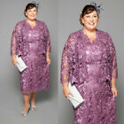 Tea Length Purple Lace Mother Of the Bride Dresses With Outfit Jacket Plus Size