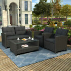 4pc Patio Furniture Rattan Soft Conversation Set Outdoor Cushions Storage Table