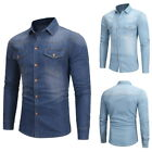 Fashion Men's Slim Fit Long Sleeve Denim Shirt Button Jeans Shirt GIFT