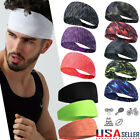 Womens Mens Stretch Headbands Gym Sweatband Wrap Yoga Sports Hairbands Workout