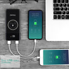 FDGAO 2USB LCD 2LED 20000mAh Qi Wireless Power Bank Battery Charger for iPhone X