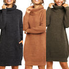 Women's Loose Oversize Turtleneck Wool Long Pullover Soft Sweater Casual Dress