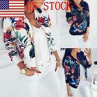US Women Floral Zipper Blazer Flight Jacket Casual Baseball Coat Outwear Top