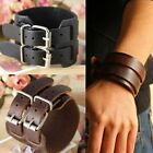 Men's Wide Leather Belt Strap Buckle Adjustable Cuff Bangle Wristband Bracelet image