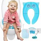 Portable Travel Potty Seat Covers,Large Non Slip Silicone Pads Reusable Training image
