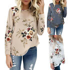 Autumn Womens Ladies Casual Tops Blouse Long Sleeve Crew Neck Floral T-Shirt Tee