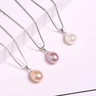 "925 Sterling Silver 8mm Teardrop Freshwater Pearl Pendant Necklace 18"" Chain Pe5"
