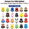 2 in 1 Cute Cartoon Splitter Charger Headset Adapter for iPhone XS Max 7 8 Plus