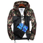 Men Camo Windbreaker Hoodie Hooded Sweatshirt Zip Sport Gym Jacket Outwear New