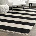 nuLOOM Casuals Ashlee Striped Flatweave Cotton Area Rug in Black