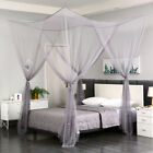 4 Corner Gray Post Mosquito Net Curtain Bed Canopy Outdoor Indoor image