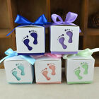 50*Bride Groom Wedding Favour Candy Boxes Gift Baby FEET Shape For Guest +Ribbon