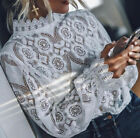 Elegant Women's Ladies Long Sleeve Shirt Hollow out Lace Chiffon Tee Tops Blouse