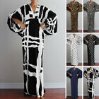 Women Printed Check Batwing Sleeve Party Evening Cocktail Gown Long Maxi Dress