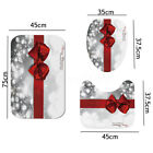 4Pcs Christmas Red Bow Knot shower Curtain Bathroom Carpet Rug Toilet Cover Mat