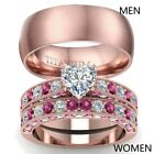 Couple Rings Rose Gold Filled Titanium Steel Mens Band CZ Womens Wedding Ring  image