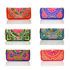 Women Handmade Hippie Boho Ethnic Hmong Floral Embroidered Wallet Purse Coin Bag image